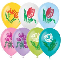 Воздушные шары с тюльпанами