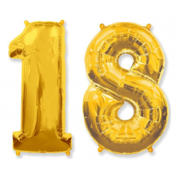 Комплект цифр 18 золотого цвета с гелием