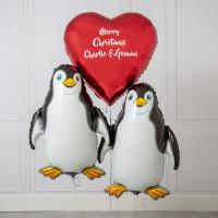 Композиция из фольгированных шаров Пингвины с вашей надписью