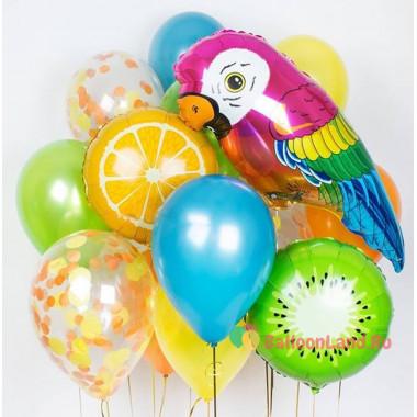Композиция из ярких воздушных шаров с попугайчиком ара