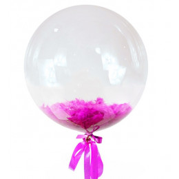 Шар-пузырь Темно-розовые перья