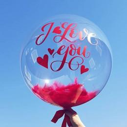 Шар-пузырь Темно-розовые перья - дополнительное фото #1