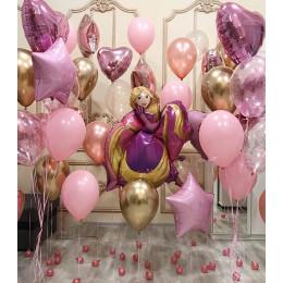 Композиция из гелиевых шариков Рапунцель с сердцами. звездами и шарами сконфетти