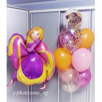 Композиция из воздушных шаров с персонажами мультфильмов Рапунцель и Моана