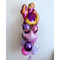 Букет воздушных шариков Рапунцель со звездой с индивидуальной надписью