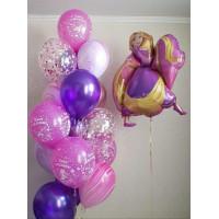 Композиция из шариков на День Рождения с Принцессой Рапунцель с шарами агат и с конфетти
