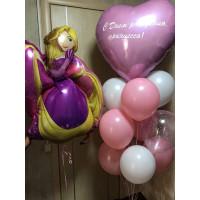 Композиция из шариков с Принцессой Рапунцель и сердцем с вашей надписью