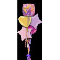 Букет гелевых шаров Рапунцель с сердцем и звездами