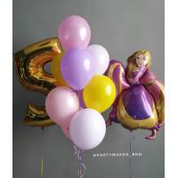 Композиция из гелевых шаров с принцессой Рапунцель и цифрой