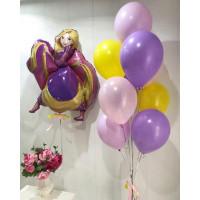 Композиция из шаров с фигурой Рапунцель и букетом шаров в тон