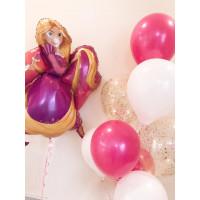Композиция из шариков Рапунцель с шарами с конфетти
