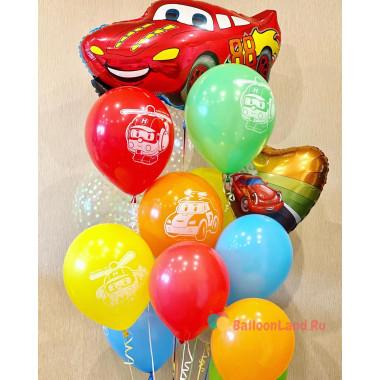 Букет шариков с гелием Робокар Поли с красной тачкой