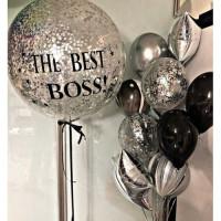 Композиция из шариков с гелием с большим шаром с конфетти, The best Boss