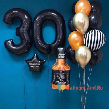 Композиция из гелевых шариков с бутылкой виски и цифрами на День Рождения руководителя