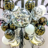 Композиция из шаров на День Рождения Боссу с шаром с перьями и вашими пожеланиями