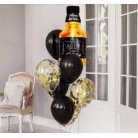 Букет шаров с гелием начальнику с бутылкой виски