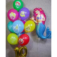 Композиция из шаров Русалочка Ариэль и принцессы Дисней