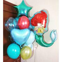 Композиция из гелиевых шаров с мультперсонажем Русалочкой Ариэль ,сердцем и звездой