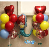 Композиция из гелевых шаров Русалочка Ариэль с красными сердцами и шарами с конфетти