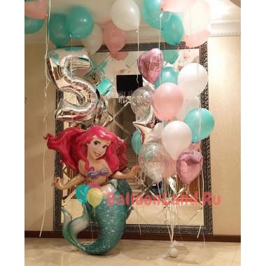 Композиция из шариков с гелием Русалочка Ариэль с цифрой, сердцами, звездами и шарами с конфетти