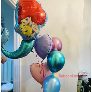 Букет гелиевых шариков Ариэль и Флаундер с сердцами