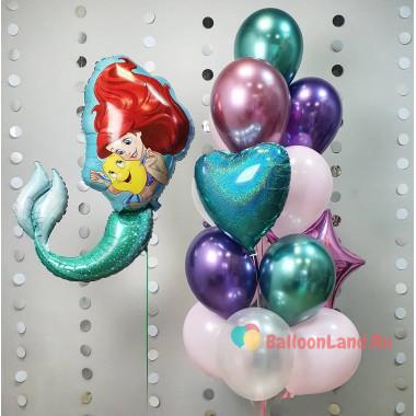 Композиция из шариков Русалочка Ариэль и Флаундер с сердцем и звездой