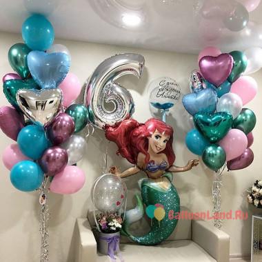 Композиция из воздушных шариков на День Рождения с Русалочкой Ариэль, цифрой и шаром с перьями