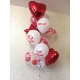 Фонтан гелиевых шаров с комплиментами красно-белый