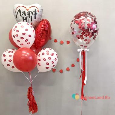 Композиция из воздушных шариков в красно-белой гамме с сердцем с надписью и поцелуями