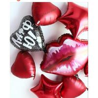 Набор гелиевых шаров с сердцем с надписью и губами