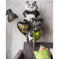 Букет гелевых шаров с пандой и сердцами с надписями