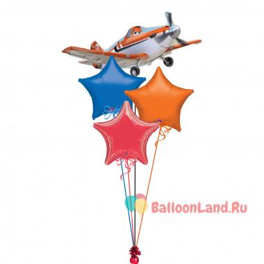 Букет из шариков с самолетом Дасти и звездами