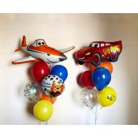 Композиция из шариков с гелием с героями мультфильмов Дисней Самолеты и Тачки