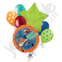 Букет из шариков с гелием с персонажем Дасти из м/ф Самолеты и звездой
