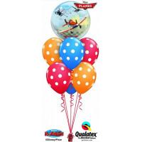 Фонтан из гелиевых шаров с героями мультфильмов Дисней Самолеты и шарами в горох