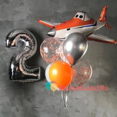 Композиция из гелевых шаров с героем м/ф Самолеты Дасти, цифрой и шарами с конфетти