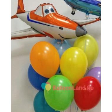 Букет шариков с мультперсонажем самолетом Дасти