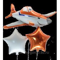 Набор гелиевых шариков самолет Дасти и две звезды