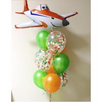 Букет шариков с гелием с самолетом Дасти и шарами с конфетти