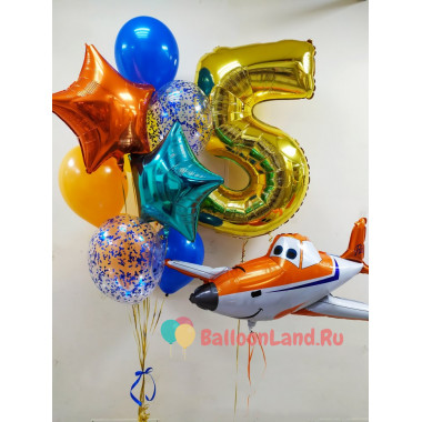 Композиция из гелиевых шариков на День Рождения Самолет Дасти с цифрой, звездами и шарами с конфетти