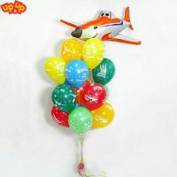 Букет из шариков с мультперсонажем Дасти самолетом