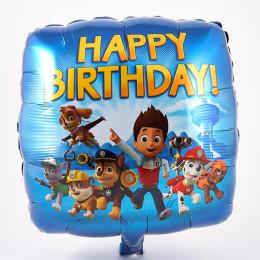 Шар-квадрат Щенячий патруль на день рождения (Happy Birthday) синий