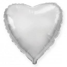 Шар-сердце Серебряный (46 см)