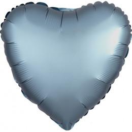 Шар-сердце Голубой, сатин