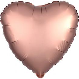 Шар-сердце Розово-золотой, сатин