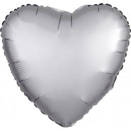 Шар-сердце Серебряный, сатин