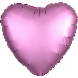 Шар-сердце Розовый, сатин