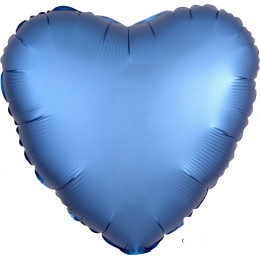 Шар-сердце Синий, сатин