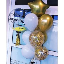 Композиция из шаров с шаром с перьями на День Рождения учителя