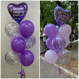 Композиция из шаров в оттенках фиолетового самому лучшему учителю